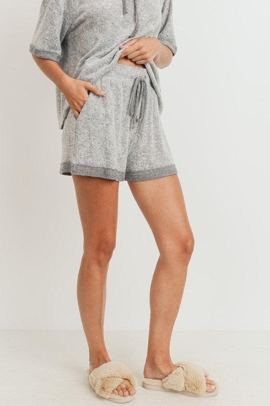 Grey Teddy Bear Brushed Knit Shorts