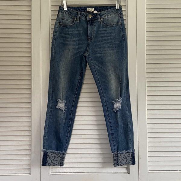 Leopard Cuff Jeans