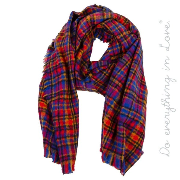 Multicolor Plaid Print Scarf with Frayed Trim
