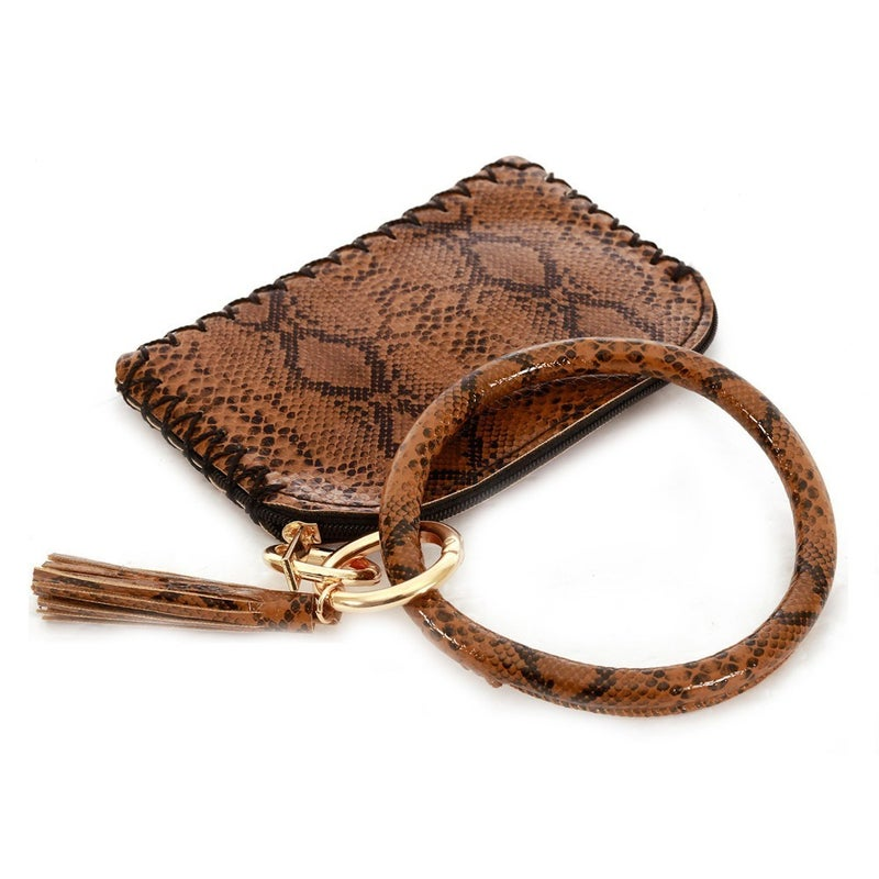 Faux Leather Snakeskin Wallet with Tassel Key Ring