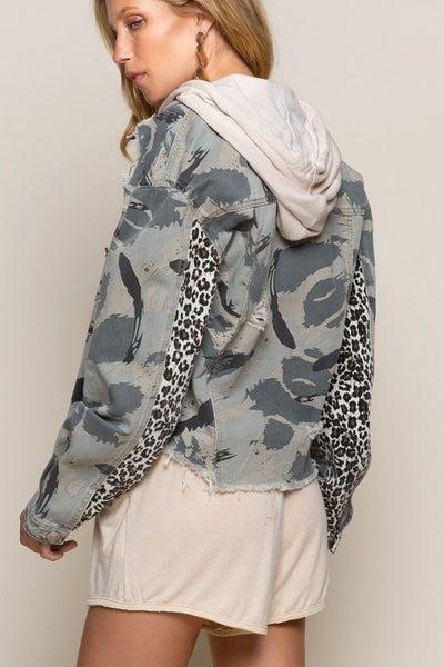 Grey Distressed Camouflage Jacket
