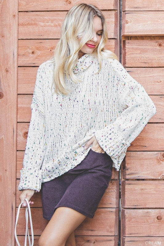 Cream Chunky Knit Turtleneck Sweater