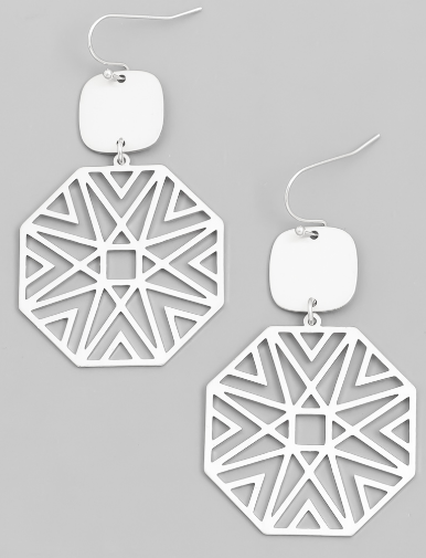 Metallic Octagon Drop Earrings