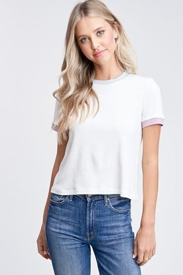 Color Contrast Ribbed Tee