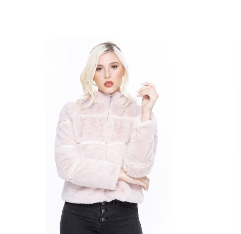Pink Faux Fur Hooded Coat