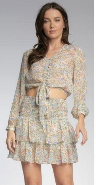 Mint Floral Print Smocked Skirt