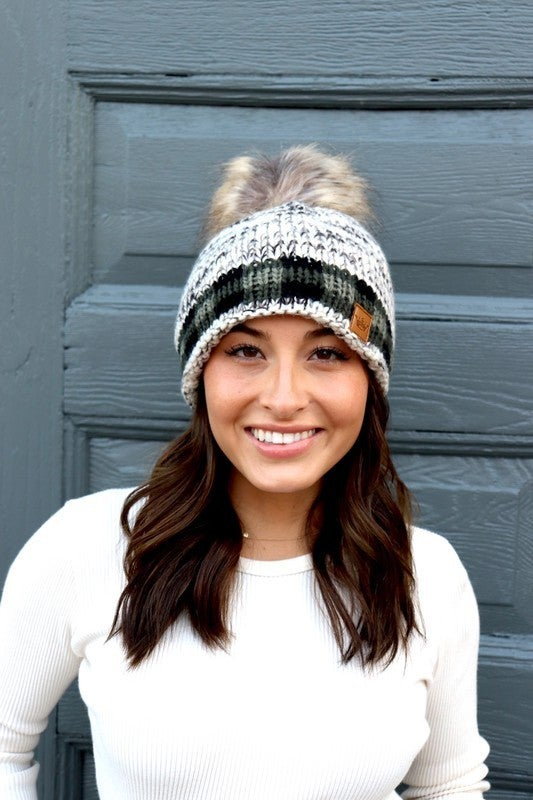 Green Plaid Accent Hat