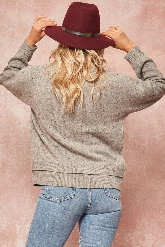 Moonlight Speckled Knit Sweater with Layered Hem