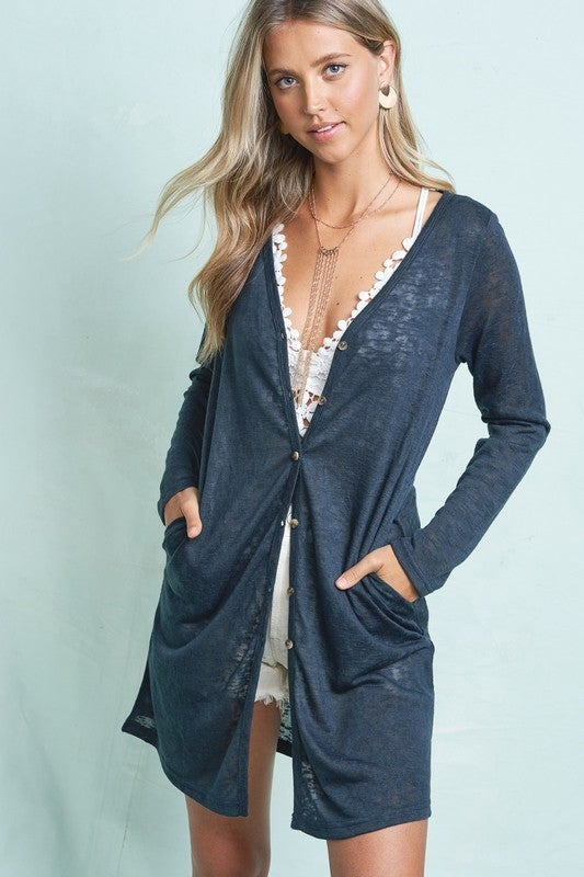 Teal Button Down Cardigan