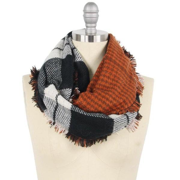 Reversible Double Plaid Infinity Scarf
