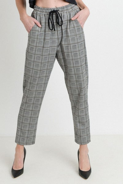 Plaid Drawstring Knit Pants