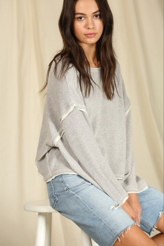 Long Sleeve Knit Hacci Oversized Top