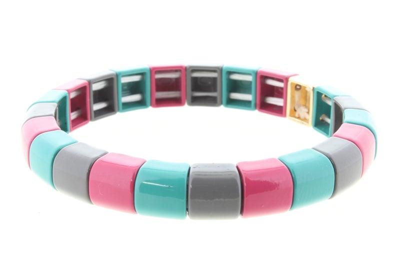 Rounded Square Metal Shape Stretch Bracelet *Final Sale*