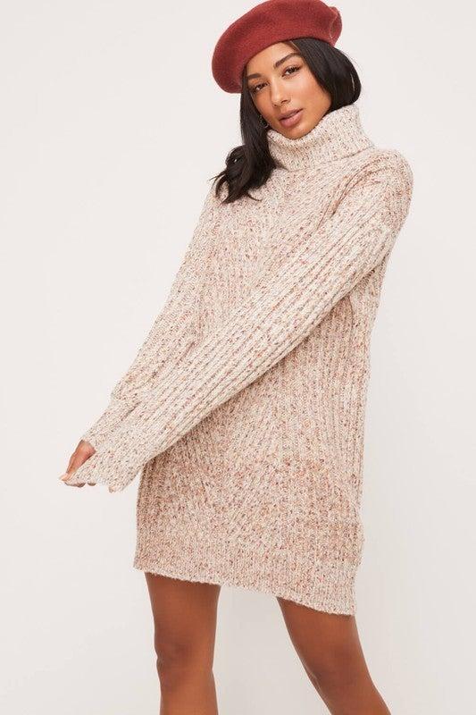 Cream Multi High Neckline Balloon Sleeve Sweater Dress