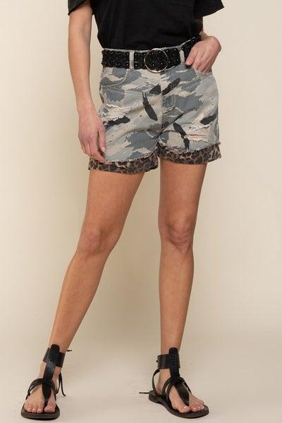 Camo Leopard Print Shorts