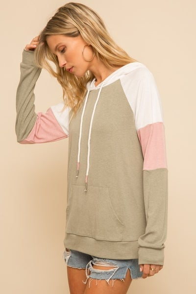 Soft Touch Colorblock Pullover Hoodie