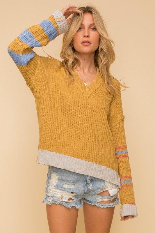 Mixed Stripe Notch V-Neck Sweater Top