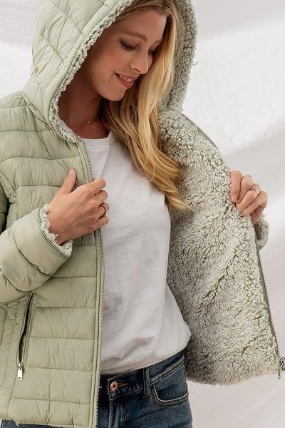 Sherpa Fleece Lined Puffer Jacket with Hood