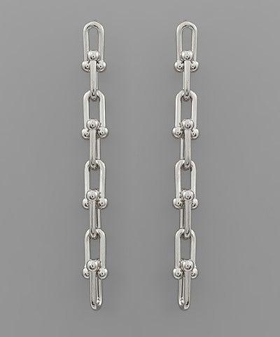 Rhodium Ball Line Earrings