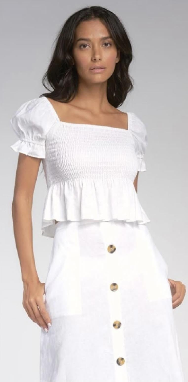 Smocked Top with Puffed Sleeves
