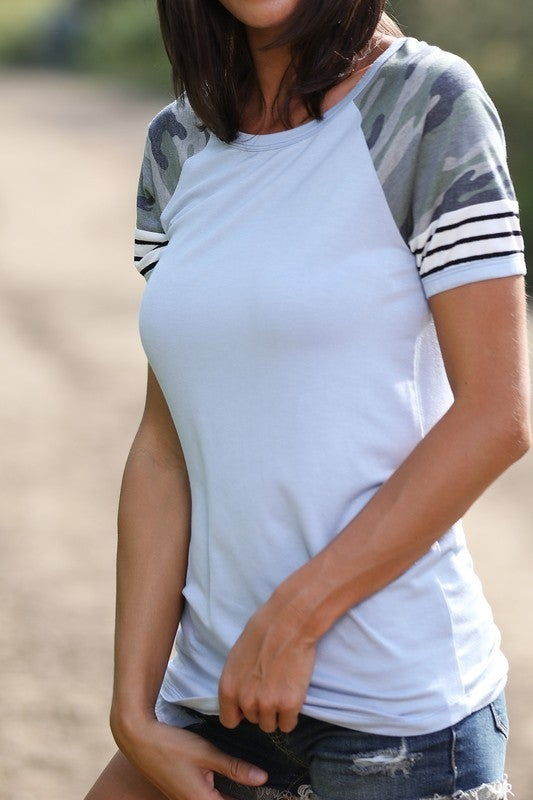Camouflage and Stripe Contrast Top