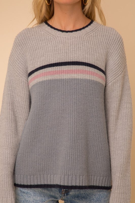 Stripe Color Block Crew Neck Sweater