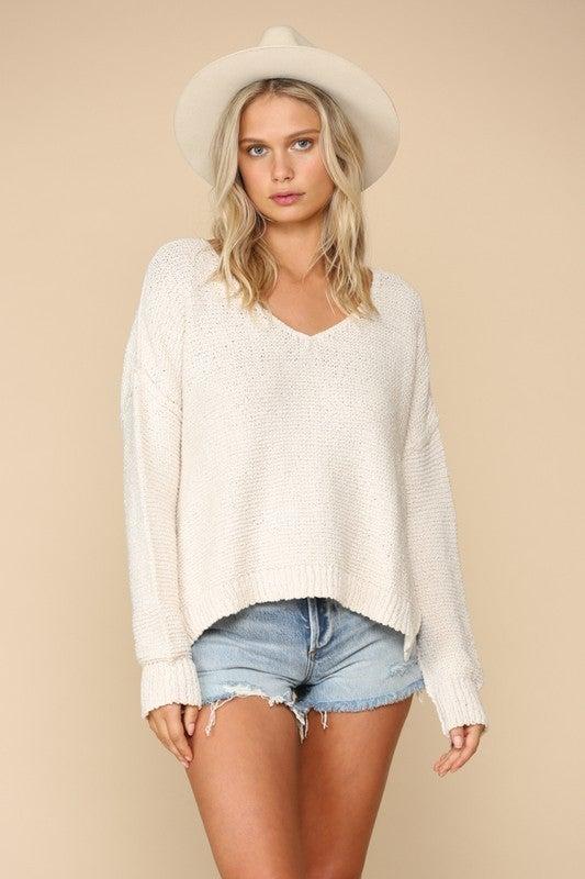 Ivory V-Neck Sweater