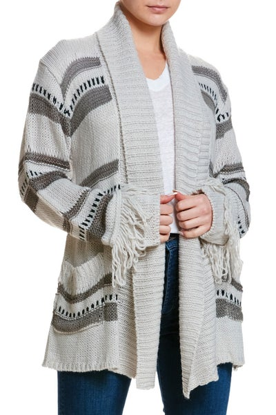 Ash Grey Patterned Cardigan