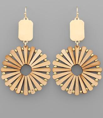 Bar & Wood Circle Earrings