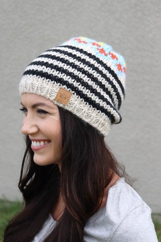 Cream Patterned Hat