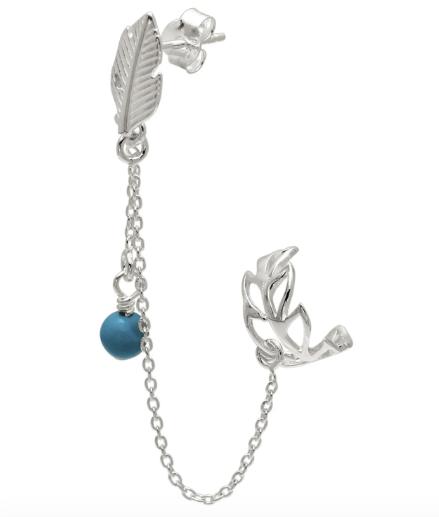 Leaf Boho Ear Cuff Chain Earrings