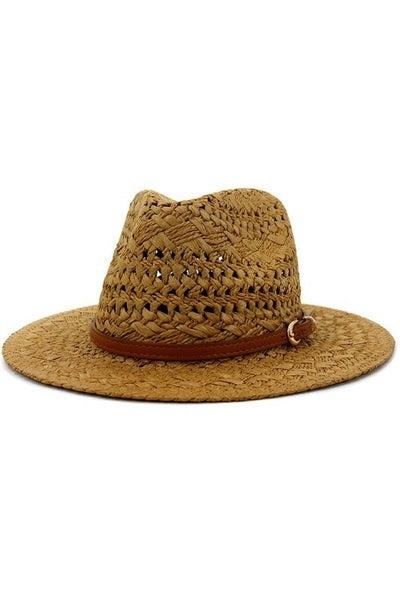 Brown Belted Straw Sun Hat