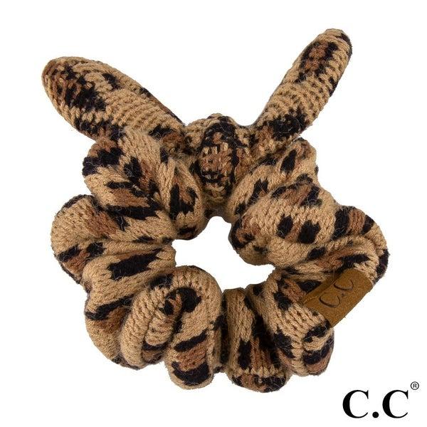 Leopard Print Knit Scrunchie