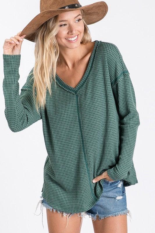 V-Neck Loose Fit Thermal Knit Top