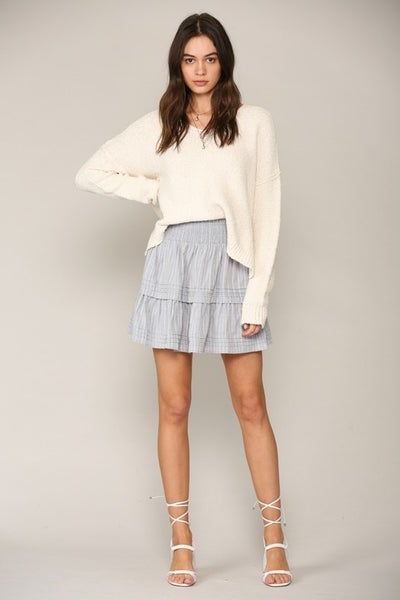 Denim Waist Smocking Woven Gauze Skirt