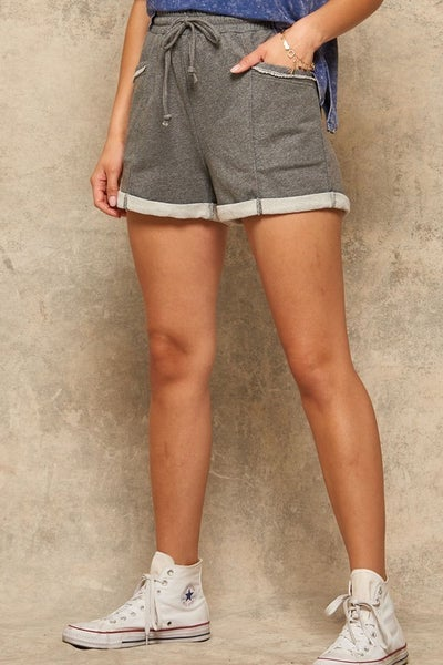 Cuffed French Terry Drawstring Shorts