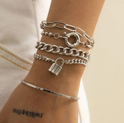 Punk Chain Bracelet Set