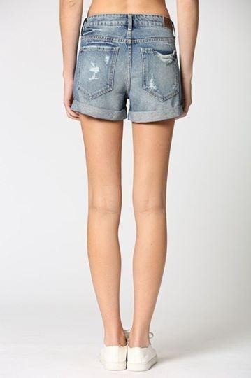 Medium Wash Cuffed Boyfriend Shorts *Final Sale*