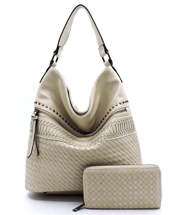 Woven 2-in-1 Shoulder Hobo Bag with Matching Wallet