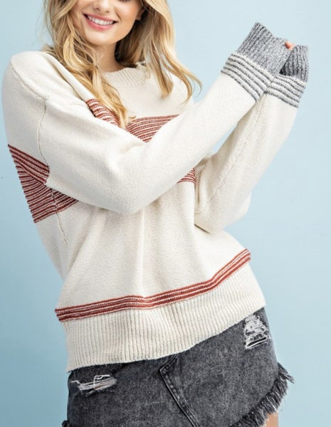 Ribbed Sweater with Mixed Stripe Detail