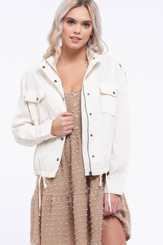 Contrast Stitched Linen Jacket