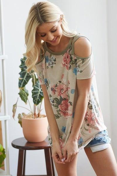 Cold Shoulder Floral Print Top