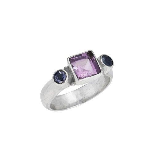 Square Amethyst With Side Iolites Ring