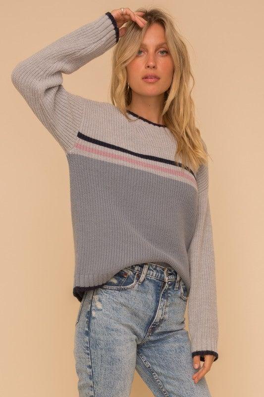 Stripe Color Block Crew Neck Sweater *Final Sale*
