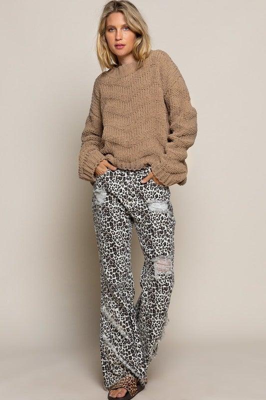 Chevron Chenille Knit Sweater