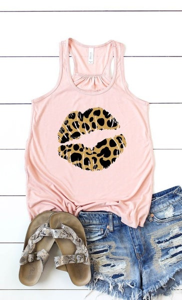 Gold and Black Leopard Lip Tank Top