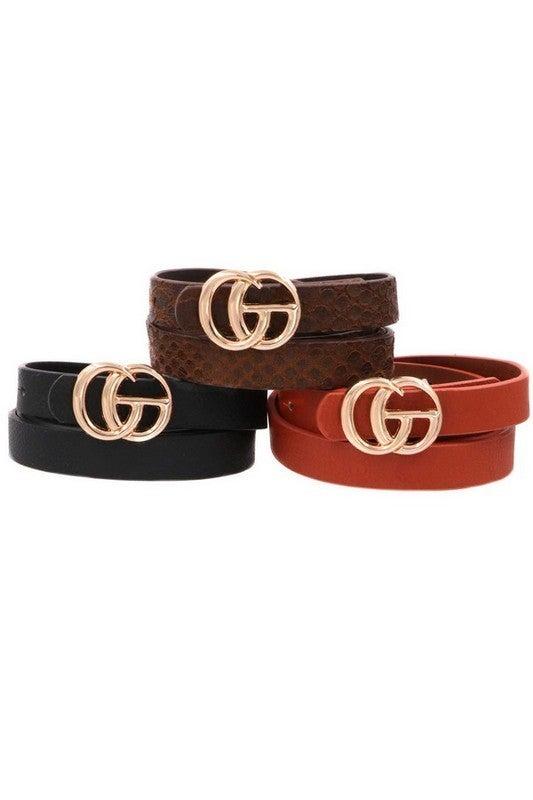 Faux Leather/Fur G Belt Set