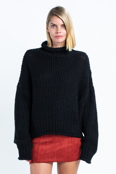 Black Knitted Turtle-Neck Sweater
