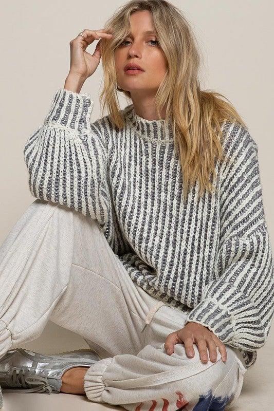 Grey Two-Tone Sweater