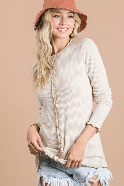 Taupe Curly Merrow Stitch Top